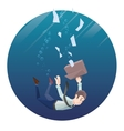 Man in office wear goes down under water Round vector image vector image