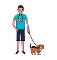 man with camera and dog mascot vector image vector image
