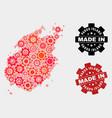 mosaic paros island map cog items and grunge vector image vector image
