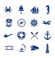 Nautical Icon Set In Blue vector image vector image