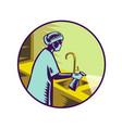 nurse spraying disinfectant retro vector image