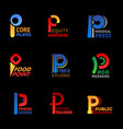 p letters industry technology corporate identity vector image