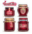 raspberry jam in glass jars vector image