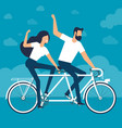 riding a tandem bike vector image