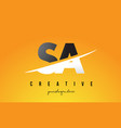 Sa s a letter modern logo design with yellow vector image