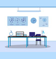 science lab interior with nobody inside - isolated vector image vector image