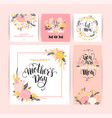 set happy mothers day lettering greeting cards vector image