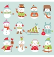 Set of 11 cute and funny snowmen vector image vector image