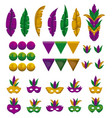 set of colorful mask with feathers festoons and vector image