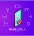 shopping online concept smartphone icons vector image