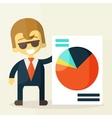Smiling businesspeople shows good statistics vector image