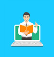 teacher man holds open book to share knowledge vector image vector image