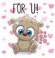 valentine card cute cartoon bear with flowers vector image vector image
