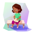 African american girl doing a cross stitching vector image vector image