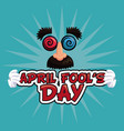 april fools day lettering face funny vector image vector image