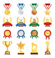 award trophy medal realistic set vector image vector image