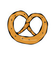bavarian pretzel with sesame and salt doodle vector image