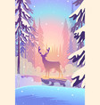 beautiful winter landscape flat design concept vector image vector image
