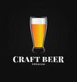 beer glass logo craft on black background vector image