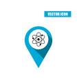 blue map pin with atom icon isolated on white vector image vector image