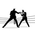 businessmen in boxing ring fighting each other vector image vector image