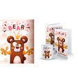 cartoon bear - mockup for your idea vector image vector image