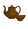 chinese ceramic teapot for tea time flat vector image vector image