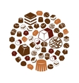 chocolate icons in circle vector image vector image