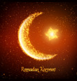crescent moon and star constructed vector image vector image