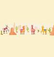 cute artistic lamas character hand drawn panorama vector image vector image