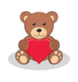 Cute brown teddy bear holding red heart vector image