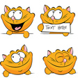 cute ginger cat peeking out holding tag sleeping vector image vector image
