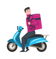 delivery man riding blue scooter with parcel box vector image vector image
