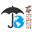 earth umbrella icon with lovely bonus vector image