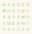 ecology and recycling outline symbols eco and vector image vector image