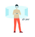 flat young man in virtual reality headset vector image