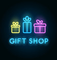 gift shop neon sign signboard for store front vector image