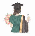 graduated girl with certificate back view hand vector image