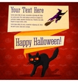 Happy halloween cute retro banner - craft paper vector image vector image