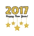Happy New Year 2017 card with gold star isolated vector image