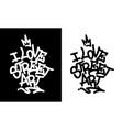 i love street art graffiti tag in black over vector image vector image