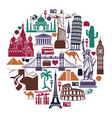 landmark travel icons in form a circle vector image vector image