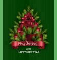 merry christmas tree holidays pine branch fir vector image vector image