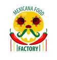 mexican food restaurant skull and chili pepper vector image
