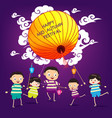 mid autumn festival background with happy kids vector image