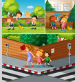 people crossing road and hanging out in park vector image vector image