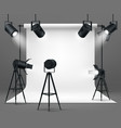 photo studio with spotlights and white background vector image vector image