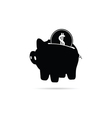 piggy bank with coin black vector image vector image