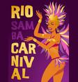 poster brazilian samba dancer carnival in vector image vector image