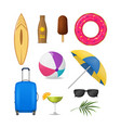 realistic detailed 3d summer holidays symbols set vector image